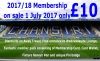 Memberships For 2017/18 Now on sale